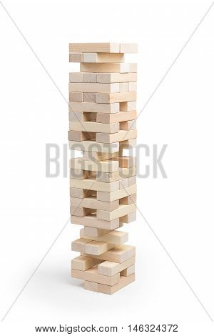 Tower Jenga in the game on a white background