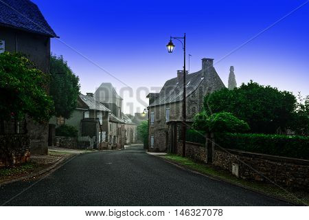 Deserted Street of the French City at Misty Morning