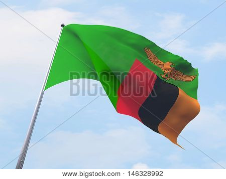 Zambia flag flying on clear sky. 3d rendering
