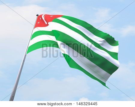 Abkhazia flag flying on clear sky. 3d rendering