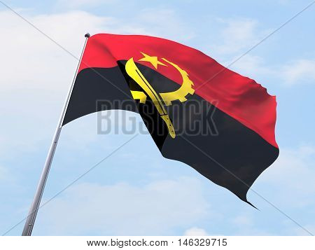 Angola flag flying on clear sky.The Sting