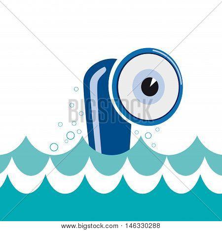 Vector sign cheerful submarine curious eye, illustration