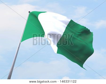 Nigeria flag flying on clear sky. 3d rendering