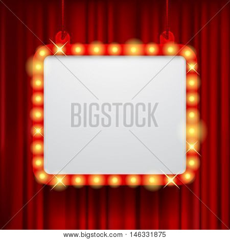 Shining party banner on red curtain background. Suspended glowing signboard.  Square presentation artistic poster and placard.