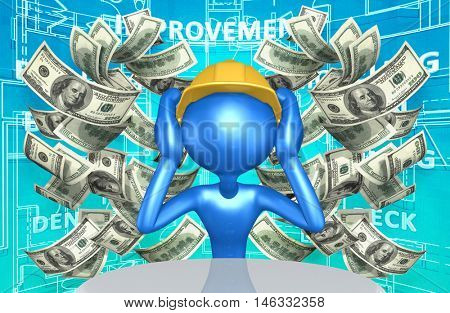 Construction Worker Character With Money 3D Illustration