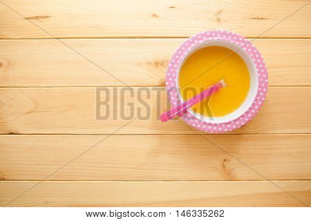 Healthy Natural Eco Baby Lure. Soup Of Squash, Carrot, Onion, Cabbage, Potato In Plate And With Spoo