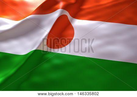 Niger flag background , 3d rendering image