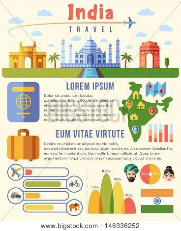 India vector traveling infographics template with landmarks and charts. Indian travel map illustration