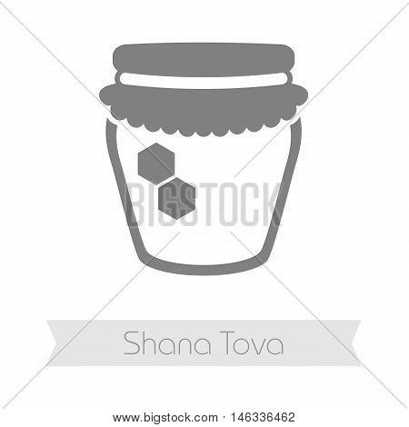 Jar of honey. Rosh Hashanah icon. Shana tova. Happy and sweet new year in Hebrew