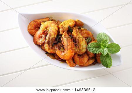 stir fried prawn of chili and turmeric as main ingredient