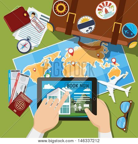 Planning summer vacation or leisure trip planning concept. Suitcase, map and plane tickets top view. Travel tourism illustration