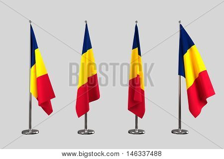 Chad indoor flags isolate on white background 3d render