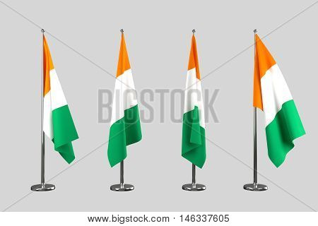 Ivory Coast indoor flags isolate on white background 3d rendering