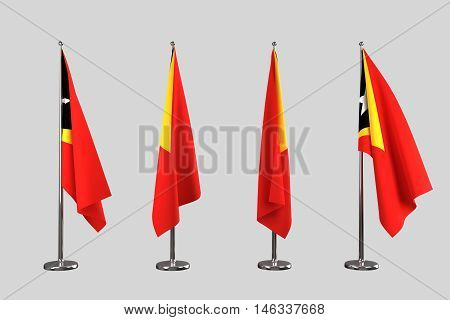 Timor Leste indoor flags isolate on white background