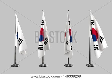 South Korea indoor flags isolate on white background 3d rendering