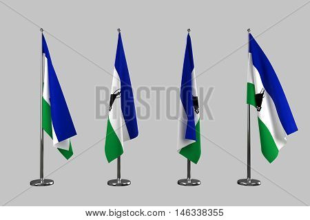 Lesotho indoor flags isolate on white background 3d rendering