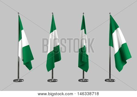 Nigeria indoor flags isolate on white background 3d rendering