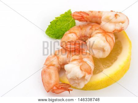 FoodShrimps. Prawns isolated on a White Background. Seafood