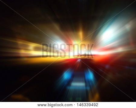 car speed motion on night road for web and print