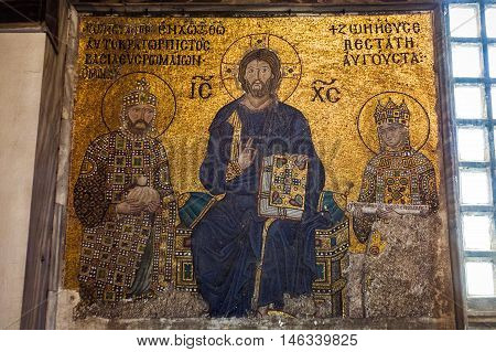 ISTANBUL TURKEY - APRIL 15 2015 : Mosaic byzantine icon of Virgin Mary and Saint Constantine in Hagia Sophia - greatest monument of Byzantine Culture Istanbul Turkey