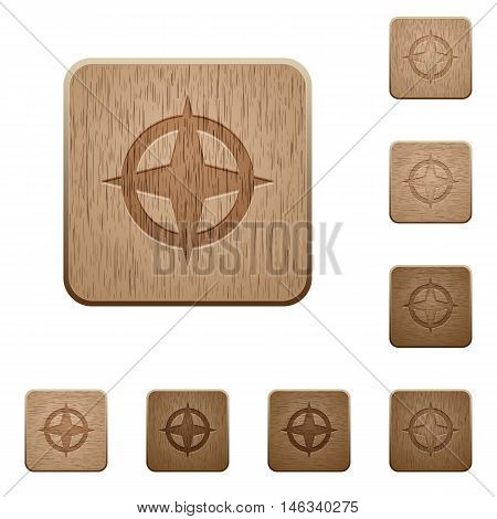 Set of carved wooden map directions buttons in 8 variations.