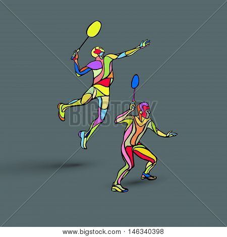 Creative color Professional Badminton players. Vector illustration. Two people, men doubles championship Eps8