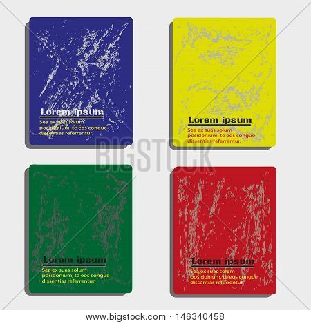 Abstract colored with effect flyer or book cover Design set with pattern a worn stone pattern background and text eps10 Vector illustration
