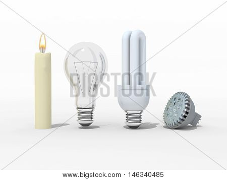 Candle incandescent light bulb compact fluorescent and light emitting diodes 3d illustration