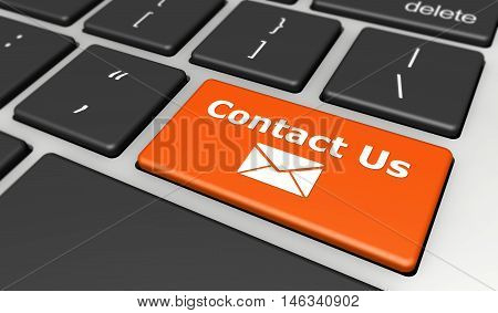 Contact us web concept with email icon on a computer button key 3D illustration.
