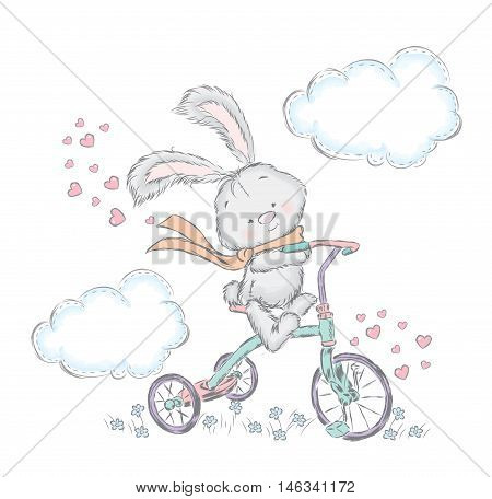 Cute hare on a bicycle. Bunny in the vector. Vector illustration for greeting card, poster, or print on clothes.