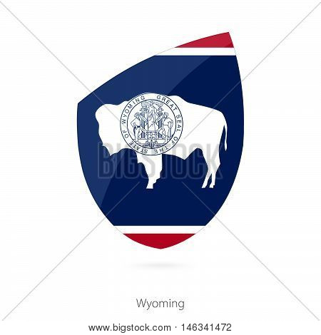 Flag of Wyoming in the style of Rugby icon. Vector Illustration.