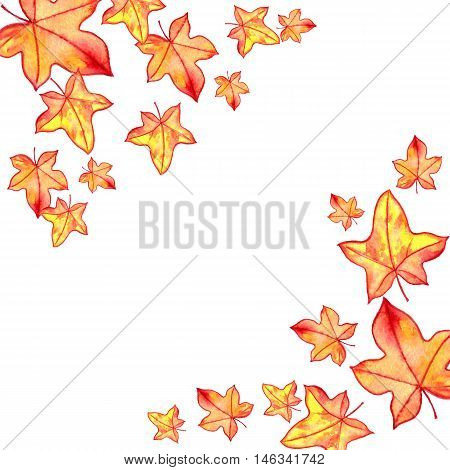 background with autumn watercolor orange and yellow leaves , nature template, foral frame, hand drawn design elements
