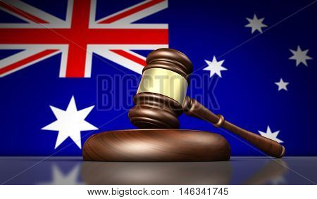 Australia laws justice and legal system concept with a gavel and the Australian flag 3D illustration.