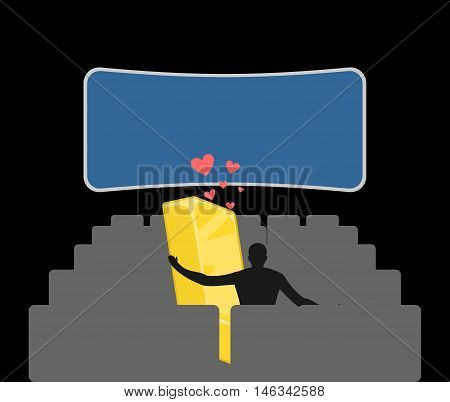 Lover Gold. Golds Bullion In Movie Theater. Man And Wealth In Cinema. Places For Kisses On Last Row.