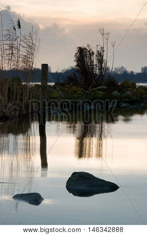 Almere Wetlands At Sunset