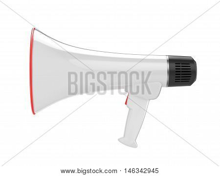 White bullhorn public address megaphone isolated on white background. 3d illustration