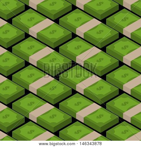 Stack Of Money Seamless Pattern. Cash Background. Tutu Of Dollars Ornament. Financial Texture