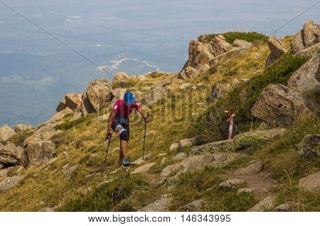 ALMATY, AUGUST 20: Race for skyrunning in honor of World Humanitarian Day on August 20, 2016, Alamty (Kazakhstan)