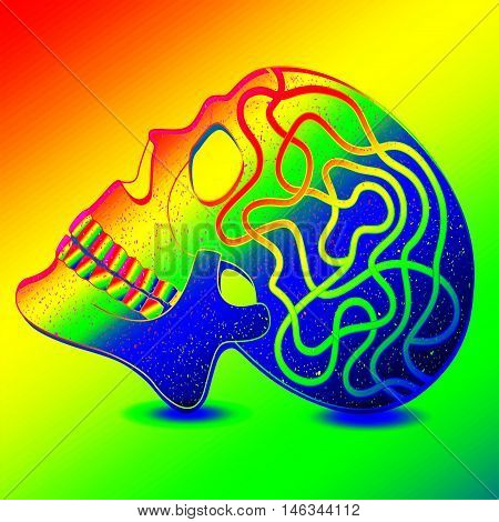 Mystical human skull in luminous neon colors.