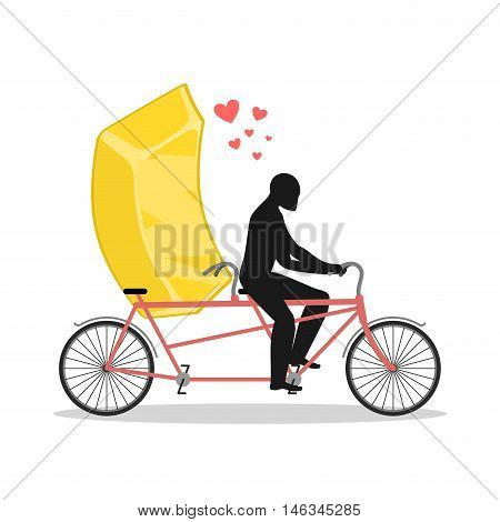 Lover Gold. Golden Bullion On Bicycle. Lovers Of Cycling. Man Rolls Fast Food On Tandem. Joint Walk
