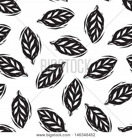 Black and white linocut leaves seamless pattern, vector background