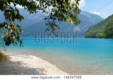View of mountain lake in Trentino, Italy