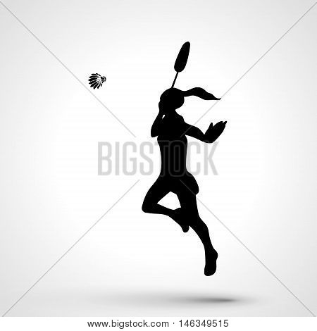 Silhouette of female badminton player doing smash shot. Black and white outline professional badminton player.