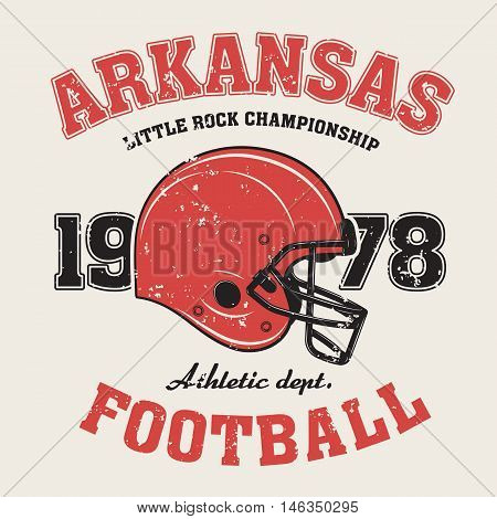 Arkansas T-shirt Graphics, Design, Print, Typography, Label With Football Helmet. Vector Illustratio