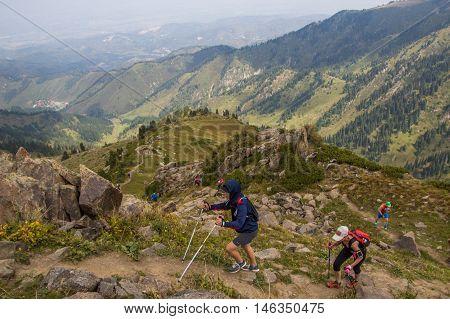 ALMATY, AUGUST 20: Skyrunner runs in the mountains on August 20, 2016, Almaty (Kazakhstan)