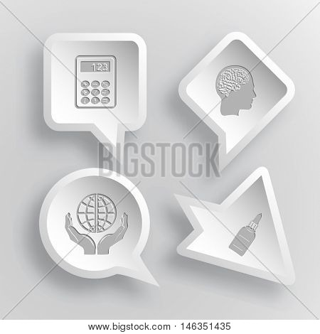4 images: calculator, human brain, protection world, glue bottle. Education set. Paper stickers. Vector illustration icons.