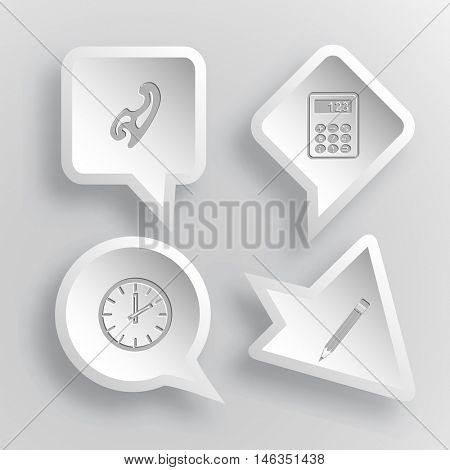 4 images: french curve, calculator, clock, pencil. Education set. Paper stickers. Vector illustration icons.