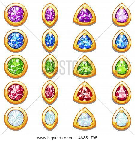 Colorful golden amulets with diamonds, different forms crystals in vector
