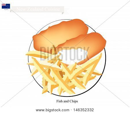 New Zealand Cuisine Illustration of Traditional Fish and Chips. A Popular Take Away Food in New Zealand.