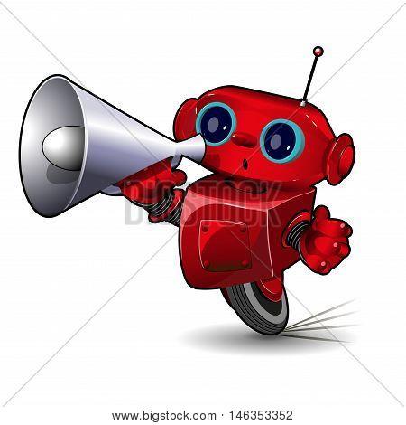 Illustration Red Robot Speeding with Megaphone